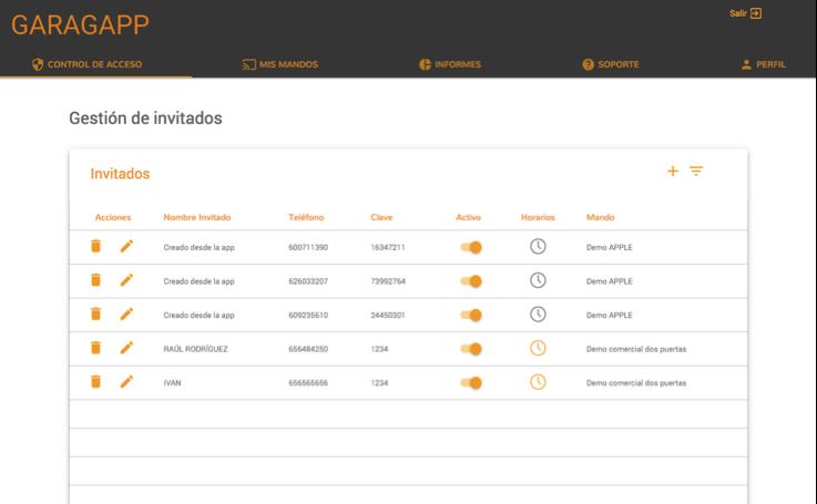 Web gestion GaragApp abre puertas con tu móvil